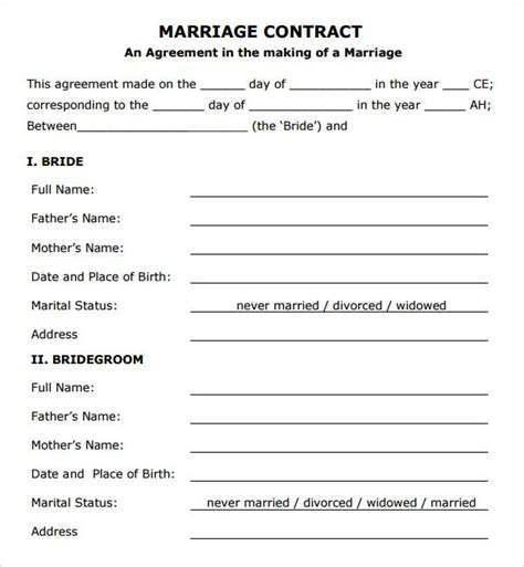 marriage agreement template marriage contract template 7 free documents in
