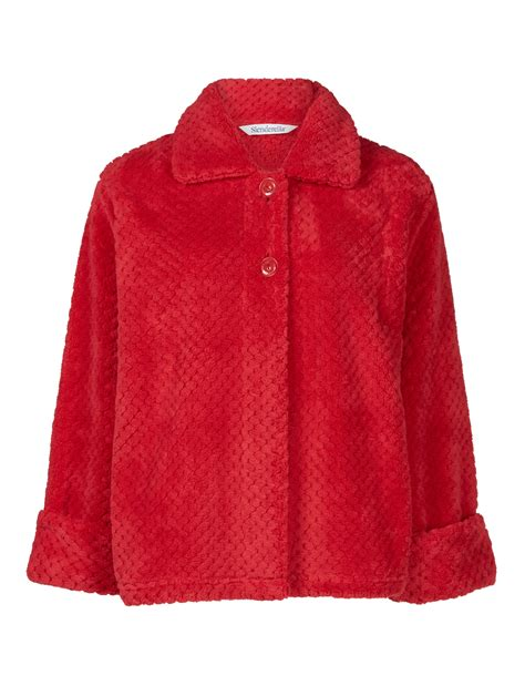 womens bed jacket slenderella ladies button up soft waffle fleece bed jacket