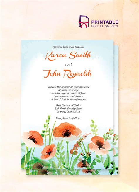 Poppy Garden Wedding Invitation Wedding Invitation Templates Printable Invitation Kits Garden Wedding Invitations Templates