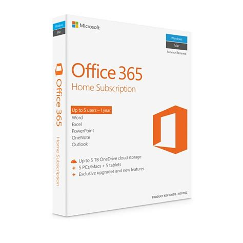 microsoft office 365 home 1 year subscription 5 licences