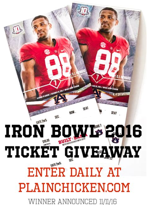 Sweepstakes Tickets - iron bowl 2016 ticket giveaway foodfreaks org