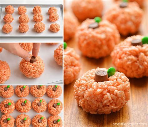 rice krispie treat pumpkins an easy halloween treat idea