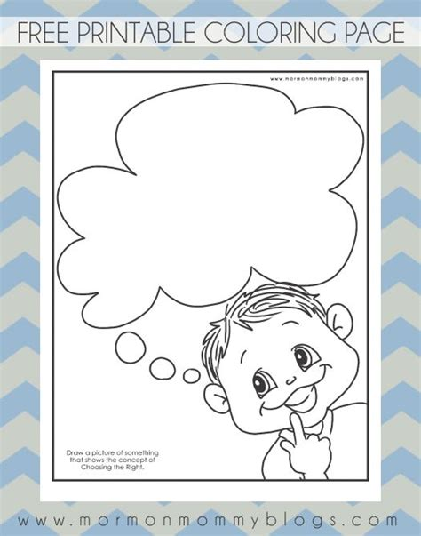 coloring page of boy thinking mormon mommy printables thinking of choosing the right