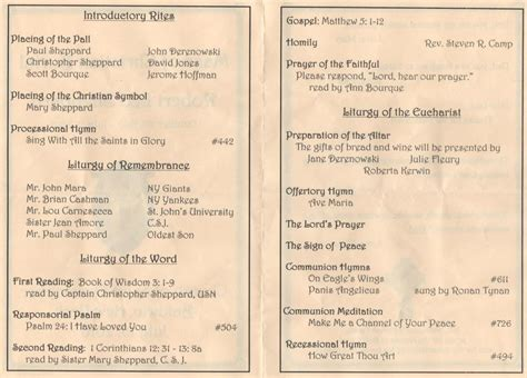catholic funeral mass program template quotes