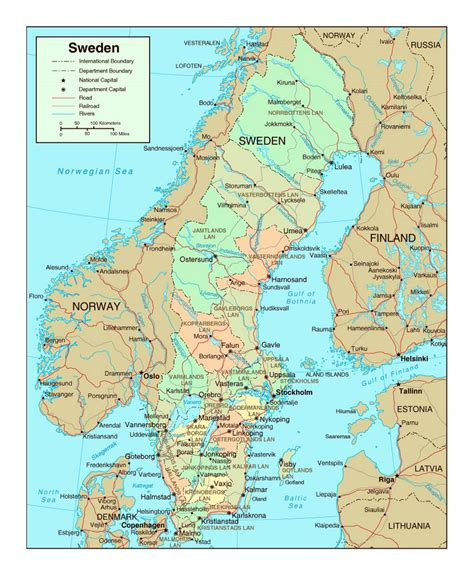 map with cities political and administrative map of sweden with roads and