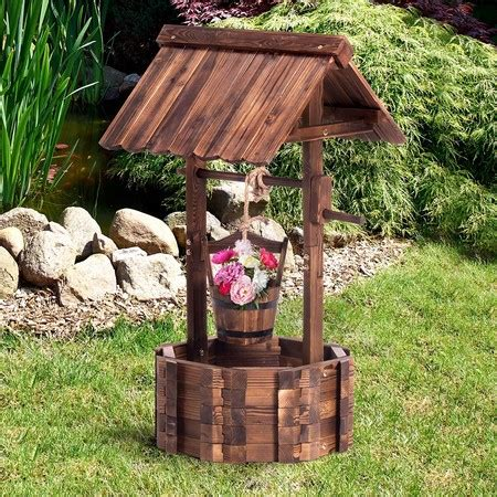 Wishing Well Garden Decor Wooden Wishing Well Outdoor Ornament Home Decor Garden Feature Sales