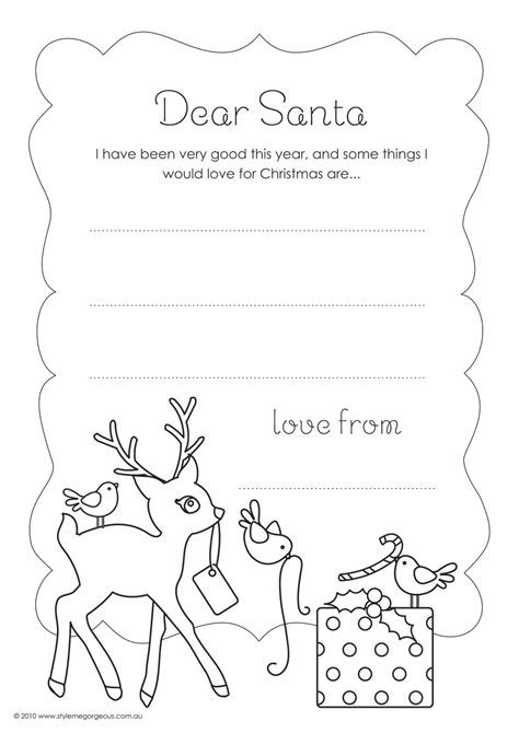 dear santa template kindergarten letter free coloring pages of wish list