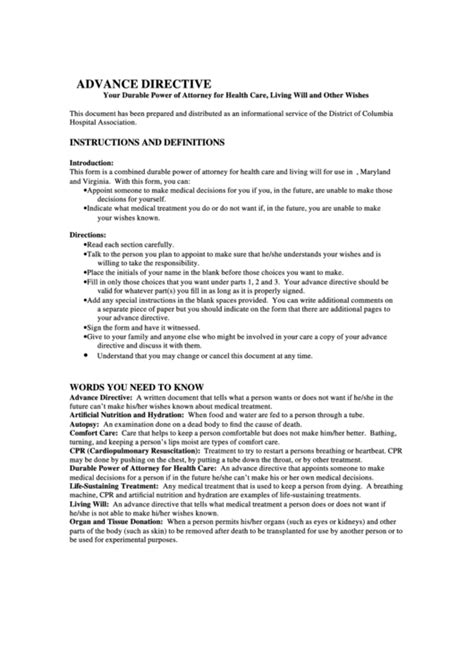 advanced directive template top va advance directive form templates free to