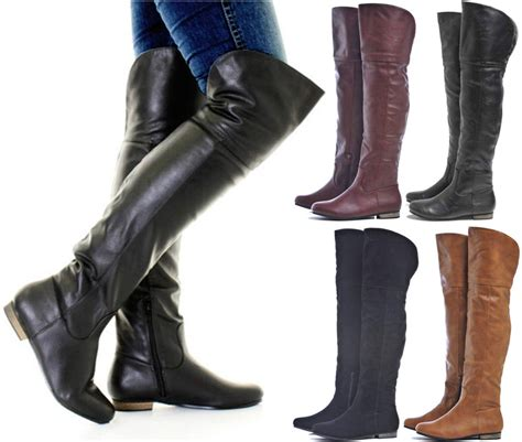 wide calf thigh high boots womens thigh high flat wide calf pull on the