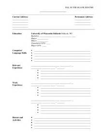 Resume Fill In by Blank Resume Just Fill Information Resume Cover Letter Exle