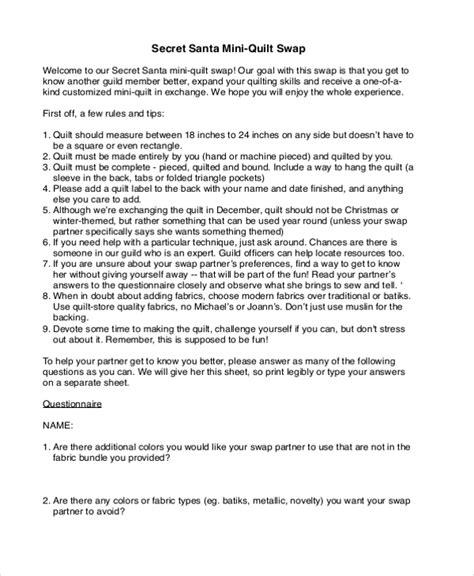 secret questionnaire sle secret santa questionnaire form 10 free