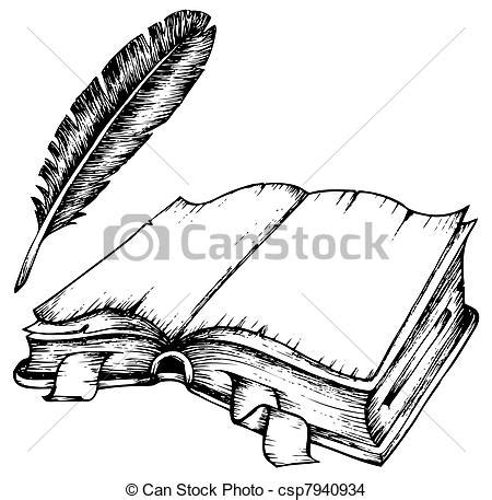 eps vector de pluma libro abierto dibujo dibujo de