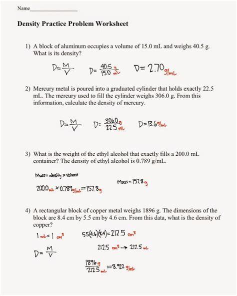 Density Worksheet Chemistry by Tom Schoderbek Chemistry Density Problems