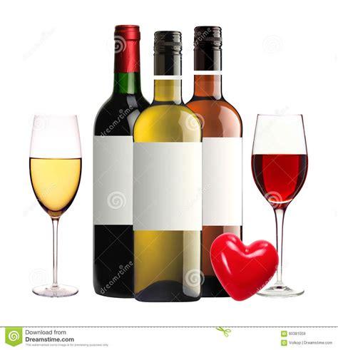 Bicchieri Da Bianco E Rosso Bottiglie Di Rosso Rosa E Bianco E Dei Bicchieri Di