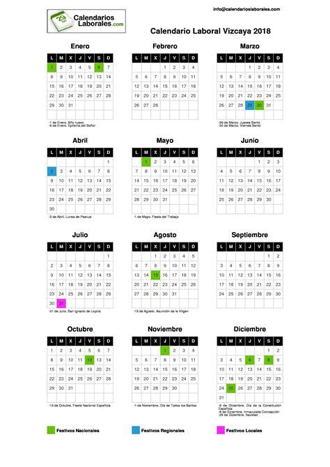 Calendario Laboral 2018 Vizcaya Calendario Laboral Vizcaya 2018