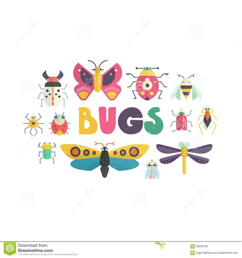 poster design elements vector cute bugs stock vector image 58532183