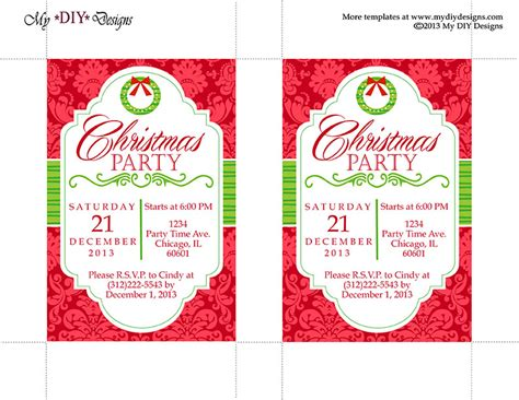 printable christmas invitation cards free printable christmas party invitations templates