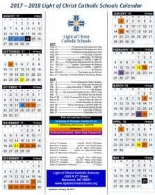 Calendar 2018 Catholic 2017 2018 Light Of Catholic Schools Calendar