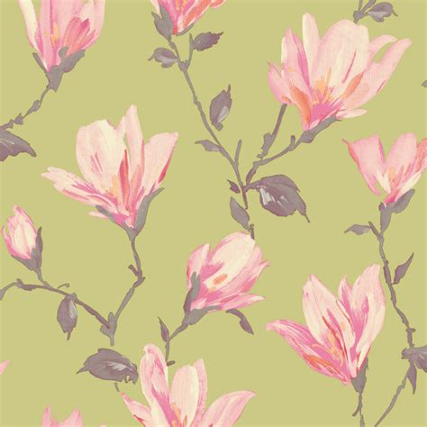 large flower wallpaper uk green and pink wallpaper wallpapersafari