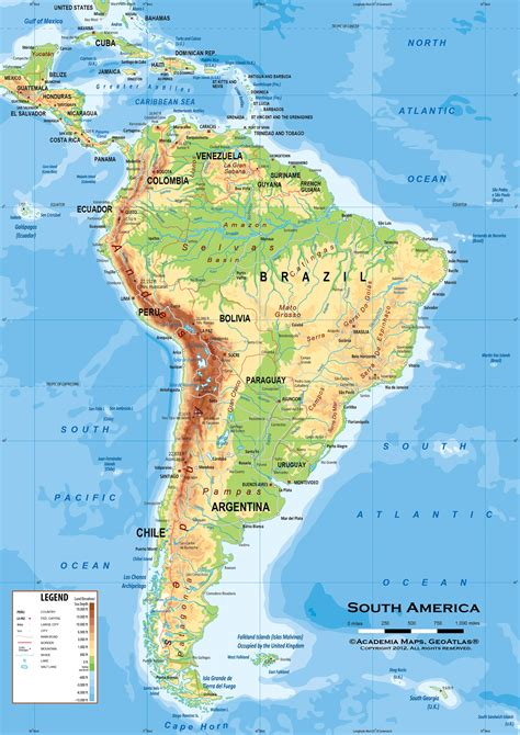 physical features map of south america south america physical classroom map wall mural from academia