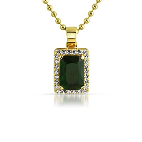green gem 925 silver hip hop pendant gem pendants