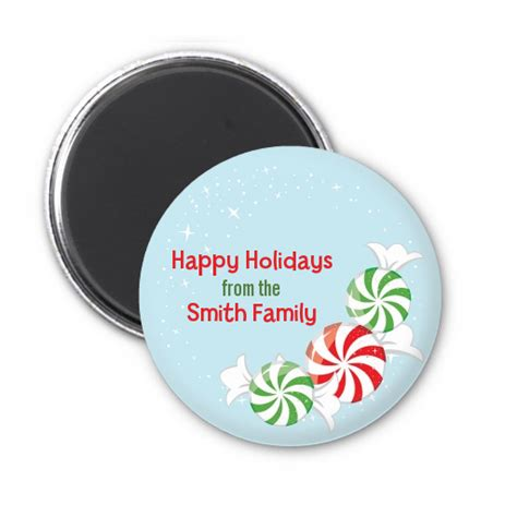 peppermint candy personalized christmas magnet favors