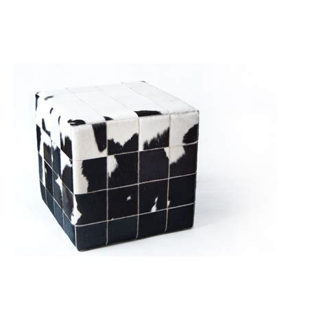 Cowhide Cube Cowhide Cube Pouf Patchwork Mosaic Black White Fur Home