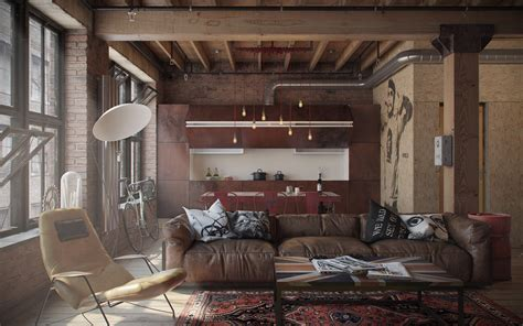 interior designs cozy living room with industrial design