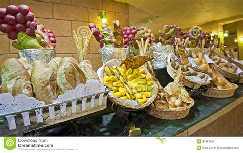 Extended Dining Table bread display at a hotel buffet stock photo image 25982594