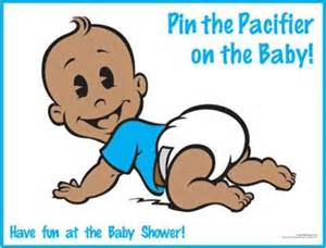 Free Printable Nautical Baby Shower Games - african american pin the pacifier on the baby game