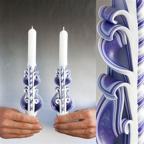 Handmade Taper Candles - white purple handmade carved sculptured