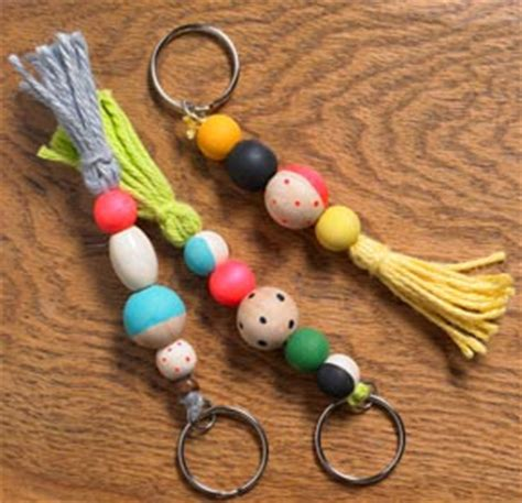 craft ideas for wooden bead keychains project