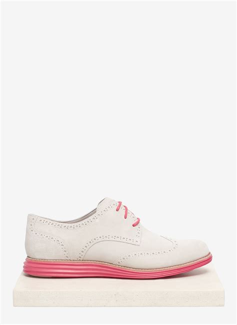cole haan lunargrand suede wingtip shoes in white lyst