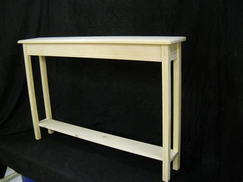 Slim Hallway Table Unfinished 46 Quot Narrow Console Sofa Foyer Beveled Edge Pine Table W Shelf Ebay