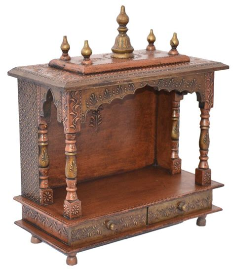 home design buy online wooden temple or pooja mandir copper painted buy wooden
