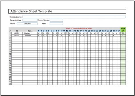attendance record template free attendance sheet template for excel 2007 2016