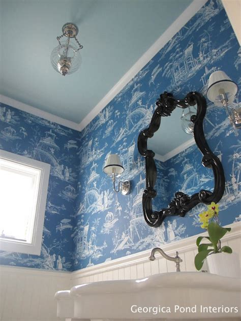 black and white toile wallpaper bathroom blue toile wallpaper transitional bathroom georgica
