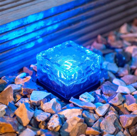 Small Blue Led Glass Brick Solar Garden Path Light Blue Led Solar Garden Lights