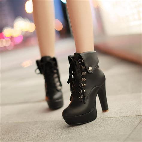 winter toe stiletto high heel lace up ankle black
