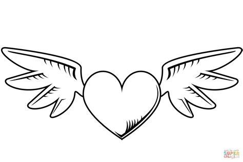 imagenes de corazones alas dibujo de coraz 243 n con alas para colorear dibujos para