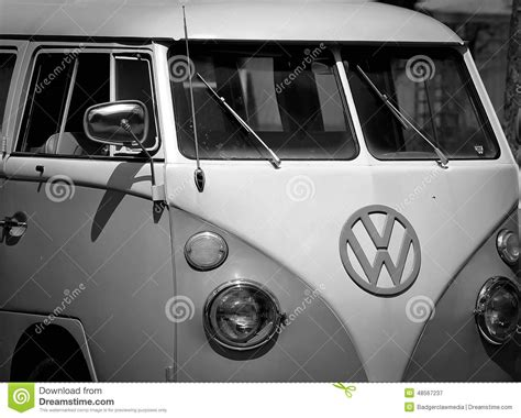 black volkswagen bus retro vw bus in black and white editorial photography