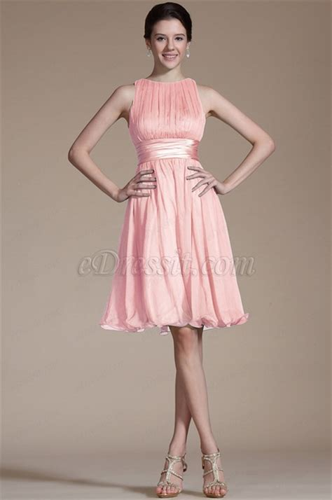 edressit pink sleeveless short cocktail dress