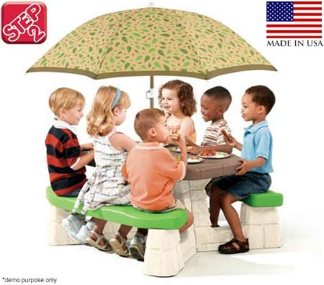 Step2 Naturally Playful Picnic Table With Umbrella by Step2 Naturally Playful Picnic Table With Umbrella