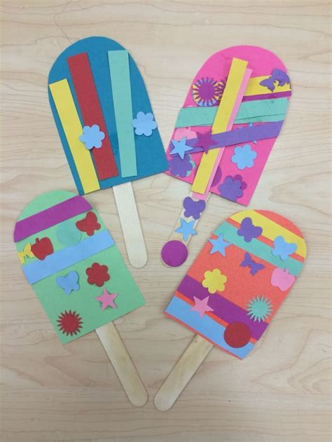 Kindergarten Pattern Craft | popsicle summer art craft for preschoolers kindergarten