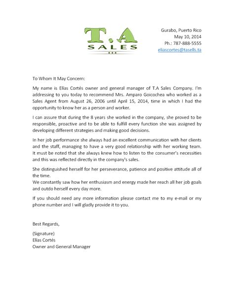 School Letter Of Recommendation Sle From Employer Sales Sle Of Recommendation Letter 2 Grow