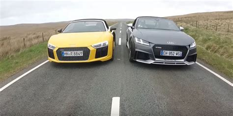 audi r8 and audi tt 2018 audi tt rs roadster vs audi r8 v10 spyder drag race