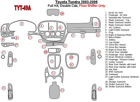 free download parts manuals 2007 toyota tundra interior lighting toyota tundra 2003 2006 premium dash trim kit tyt 49a