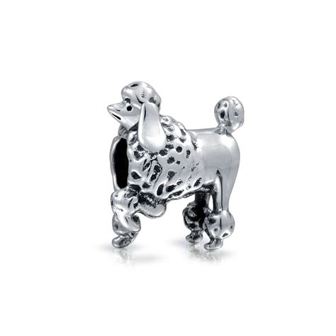 925 Sterling Silver Poodle Show Dog Charm Fits Pandora Animal Bead