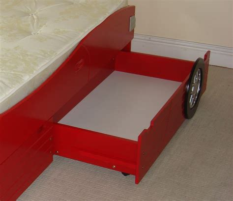 New In Red Wooden Racing Car Bed Frame Only With 2 Storage Car Bed Frames