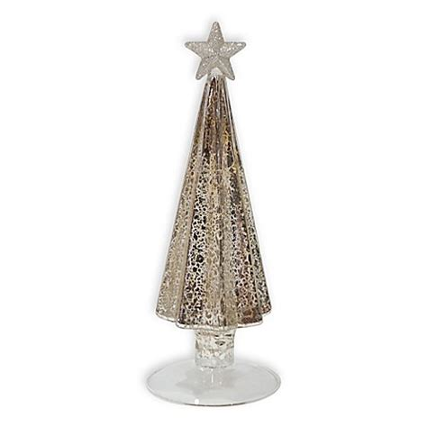 9 inch glass christmas tree in antique silver bed bath